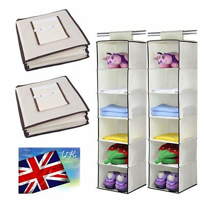 Double 6 SECTION SHELF HANGING WARDROBE SHOE GARMENT ORGANISER STORAGE CLOTHES B