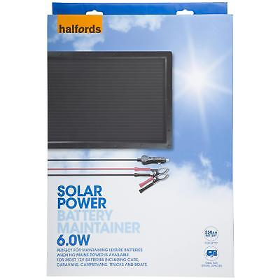 Halfords Portable Car Caravan Boat Solar Powered Panel 12V Battery Charger 6W