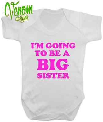 I'm going to be a Big Sister New Baby grow Novelty Body Suit Announcement gift
