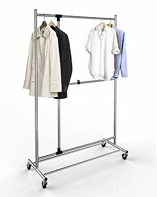 Proman Products - ZS16734 - Adjustable Garment Rack Chrome Finish With Casters