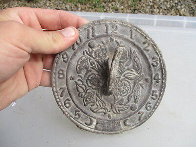 "Small Vintage Lead Sundial Garden Ornament Ornate Floral Case Old   5.25""W"
