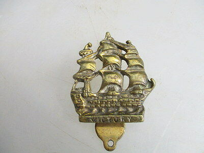 Small Vintage Cast Brass Door Knocker Bathroom Discretion HMS Victory Ship Old