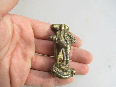 Small Vintage Cast Brass Door Knocker Bathroom Discretion Victorian Mr Pickwick