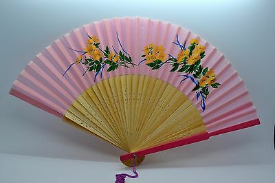 Exquisite Vintage Wood Fabric Hand Painted Folding Hand Fan 1960s