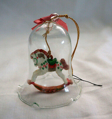 Victorian Rocking Horse Bell Hand Painted Christmas Ornament Gentle Charger