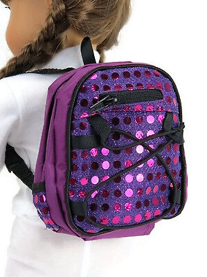 "Purple Backpack with Sequins made for 18"" American Girl Doll Clothes Accessories"