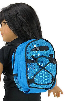 """Blue Backpack with Sequins made for 18"""" American Girl Doll Clothes Accessories"""