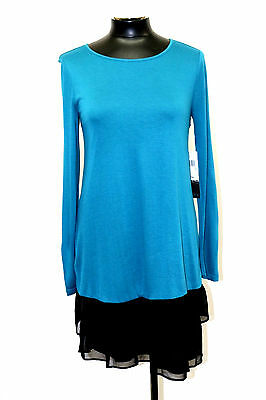 KENSIE DRESS COLLECTION SHEER VISCOSE TEES TEAL MULTI SIZE XS MyAFC