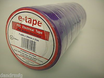 "NEW 10PK PVC ELECTRICAL TAPE 3/4"" x 60' x 7mils PURPLE INSULATION ADHESIVE ROLLS"