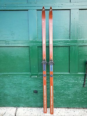 """Old Set of 84"""" Long Wooden HICKORY Skis with Brown Finish signed TOURING ACTRA"""