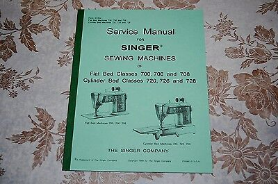Professional Service Manual for Singer 700 706 708 720 726 728 Sewing Machines.