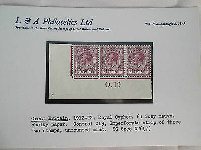 Great Britain1912-22royal cypher 6d rosy mauvecontrol 0.19imperforatestrip3 Xmas