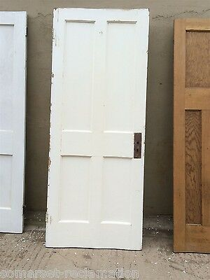 """31 3/4""""x79"""" Reclaimed 4 Panel Old 1930s Painted Pitch Pine Wide Door"""