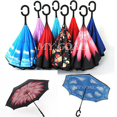 Parasols Sky Folding Sun Rain Windproof Umbrella Double Layer Inverted Reverse
