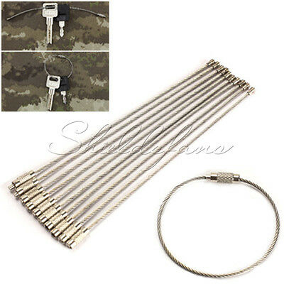 10PCS Stainless Steel EDC Aircraft Cable Wire Keychain Ring Twist Screw Locking