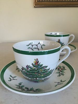 SPODE CHRISTMAS TREE Tea Cups & Saucers Set Of 2! MINT! Made in ENGLAND!