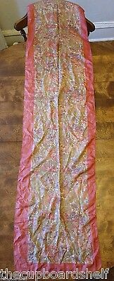 """vintage flower scarf 66"""" x 15"""" red brown yellow rose"""