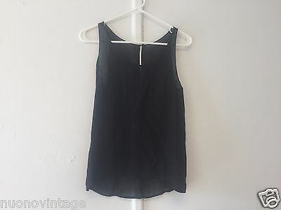 Semi vintage flirty sheer black top blouse attached camisole sleeveless S to M
