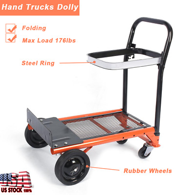 Hand Truck Dolly Folding Push Pull Cart Heavy Duty Utility Moving Load Trolley