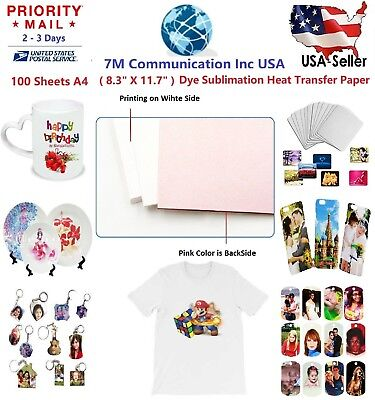 "100 A4 (8.3"" x 11.7) Sublimation Heat Transfer Paper Mug Cup Plate Cotton TShirt"