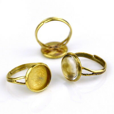 12mm Soild Brass Adjustable Ring Base Bezel Setting m108 (2pcs)