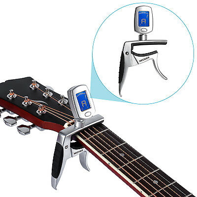 Neewer 2-In-1 Capo Tuner for Guitar, Electric Guitar, Bass, Ukulele-Silver FX#18