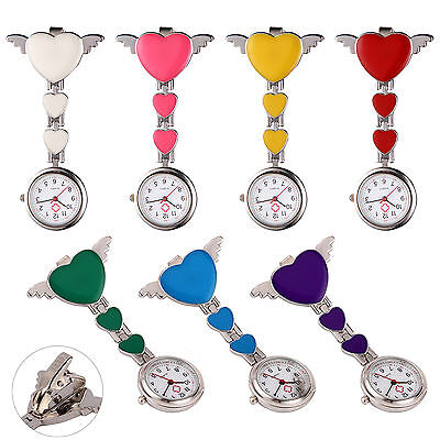 Stainless Steel Heart Medical Nurse Quartz Tunic Pocket Clip-on Brooch Fob Watch