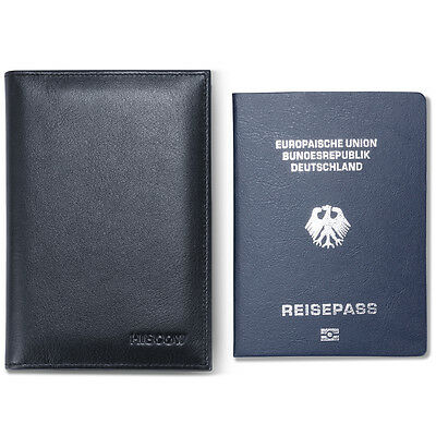 HISCOW Classic Bifold Standard Passport Cover Holder Italian Genuine Leather Men