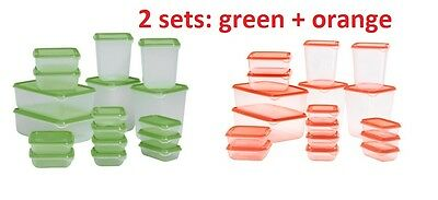 2x Set of 17 IKEA PRUTA Plastic Food Storage Containers Saver Green & Orange