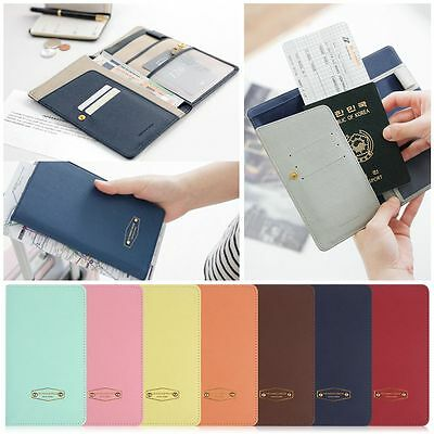 Leather Passport Card Cover Travel Wallet Document Holder Organizer RFID Case