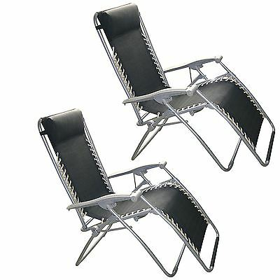 2 X Black Textoline Gravity Garden Outdoor Reclining Recliner Chair Lounger