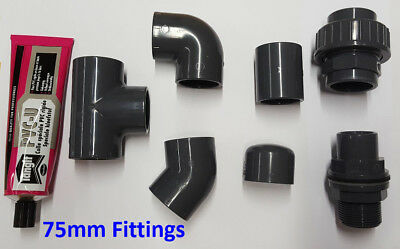 75mm PVC Pipe Solvent Weld and Fittings; Tee, Elbow, Socket, Joiner, Cap etc.