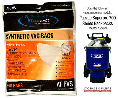 Pacvac Superpro 700 Backpack Series Synthetic Vacuum Cleaner Bags (10-pack)