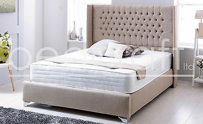 Chesterfield Winchester Bed Frame Tall Wingback Headboard Any Colour/Size Design