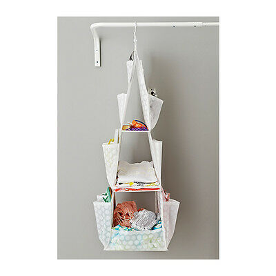 IKEA PLURING Hanging Storage Closet Shoes Clothes Organiser with 3 Compartments