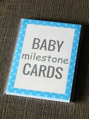 Baby Milestone Cards Blue - Quality Baby Mile Stone Card Set (baby shower gift)