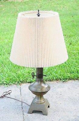 Vintage Antique Art Deco Frederick Cooper Shade & Table Lamp Tower Brass Tone