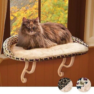 K&H - Deluxe Kitty Sill Bolster Cat Bed - Tan Kitty Print