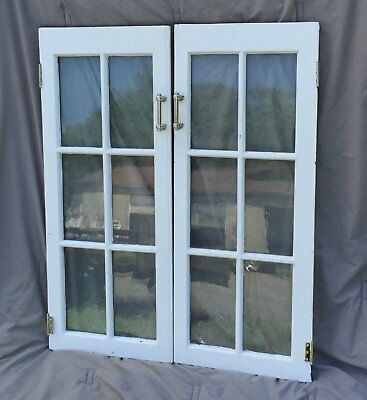 Pr Vintage Casement Windows Pantry Cupboard Door Shabby Old Bookcase 1187-16