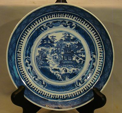 """Antique Chinese Export Blue & White Nanking Plate 6 3/8"""" dia 19th c"""
