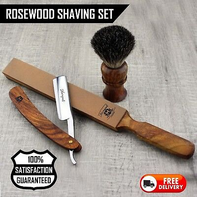 Straight Cut Throat Wet Shaving Razor, Brush & Strop Kit Rasiermesser Rasoir