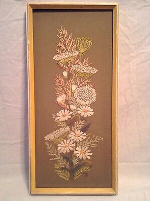 Vintage Embroidery Needlepoint Retro Flowers Framed