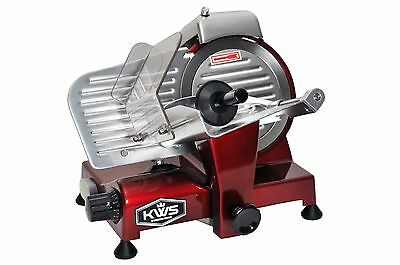 "KWS Premium Commercial 200W Electric Meat Slicer 6"" Frozen meat Deli slicer Red"