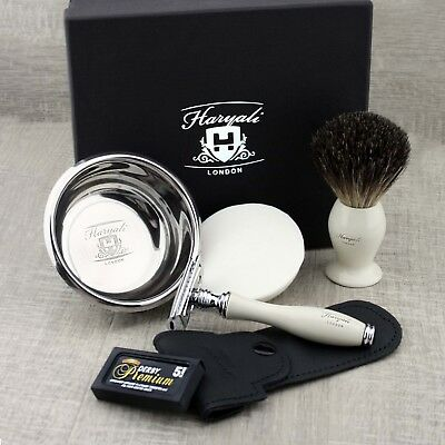 Best Vintage Style Shaving Gift Set for Men by Haryali London with Branded Box