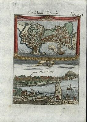 Colombo Sri Lanka Ceylon 1719 antique engraved detailed charming rare city plan