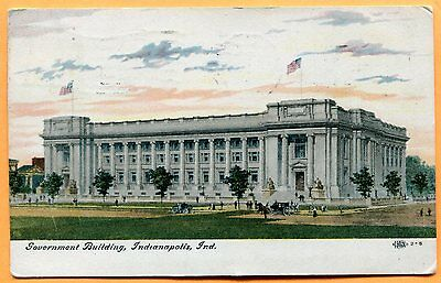 Indianapolis, IN, Old Postcard View of Government Building, pm 1913
