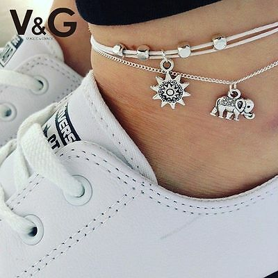 new Elephant Flower Chic Chain Foot Jewelry Charm Anklet Ankle Women Bracelet UK