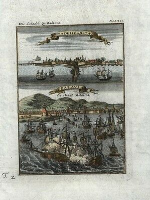 Indonesia Batavia Dutch East Indies Jakarta port tall ships 1719 rare city view