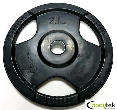 20Kg Olympic Rubber Weight Weights Plate EZ Grip Fitness Gym Barbell Pickup Ok