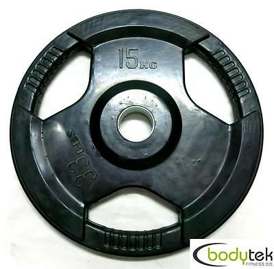 15Kg Olympic Rubber Weight Weights Plate EZ Grip Fitness Gym Barbell Pickup Ok